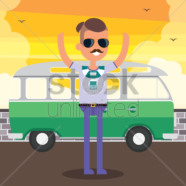 man standing on street near a bus vector graphic
