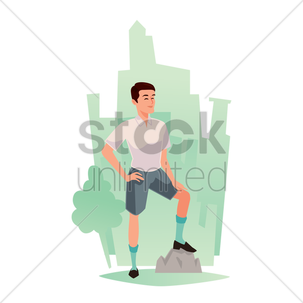 man standing outdoor vector graphic