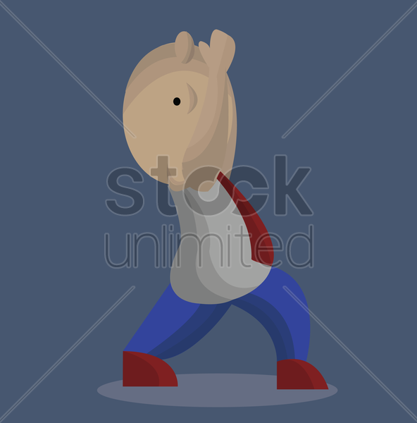 Free man stretching while raising his arms vector graphic