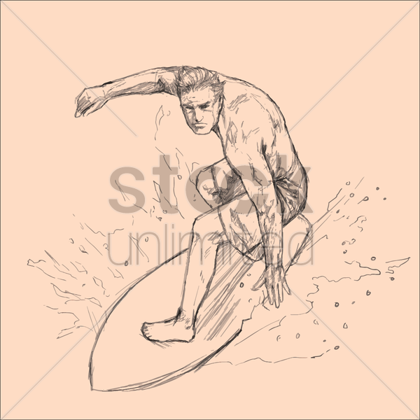 man surfing on surfboard vector graphic