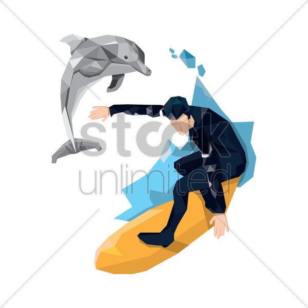 man surfing vector graphic