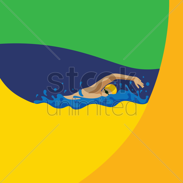 man swimming vector graphic