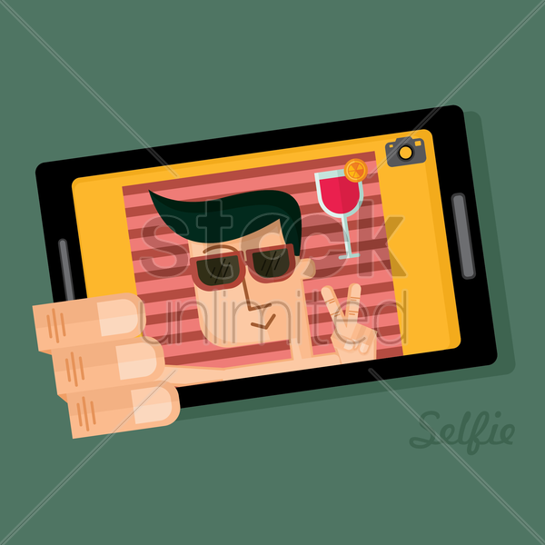 man taking a selfie vector graphic