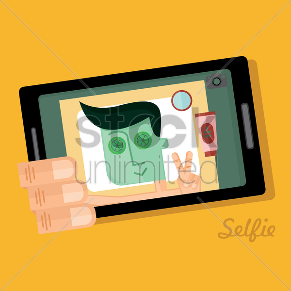 Free man taking a selfie vector graphic