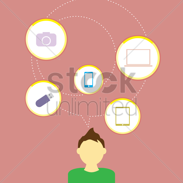 man thinking about technology vector graphic