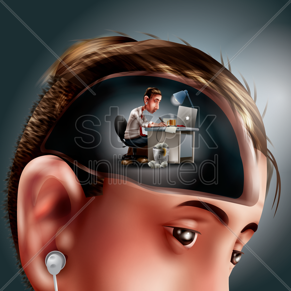 man thinking of work vector graphic
