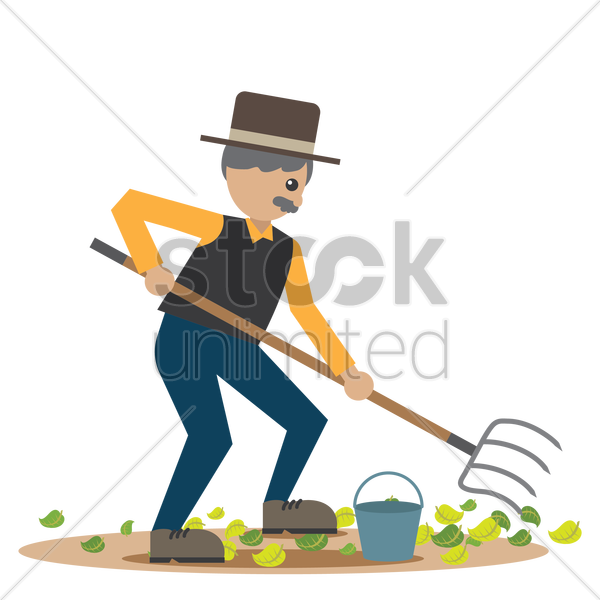 man using a pitch fork vector graphic
