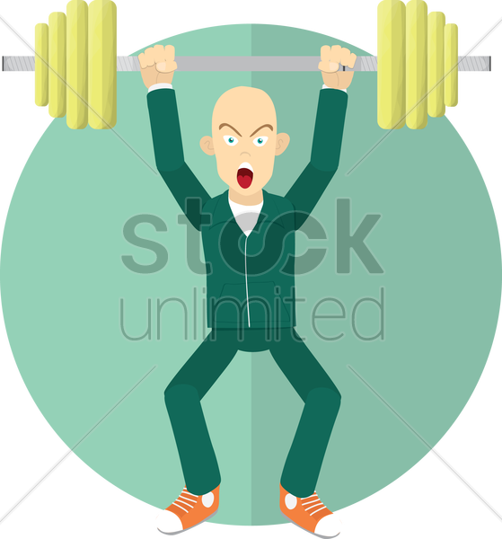 man with barbells vector graphic