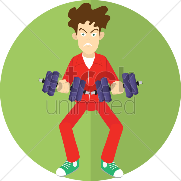 man with dumbbells vector graphic