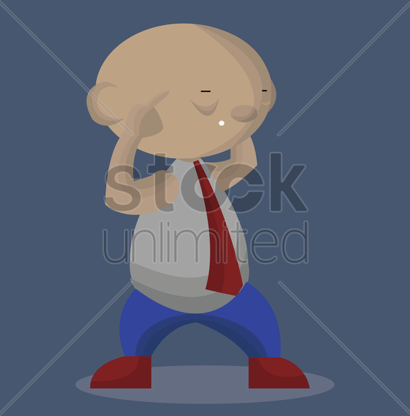 Free man with finger on his temples vector graphic