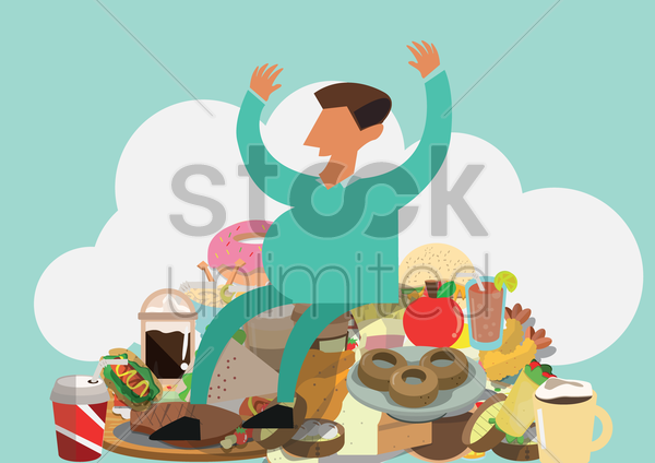 man with food items vector graphic