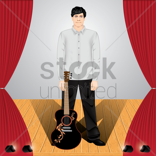 man with guitar on stage vector graphic