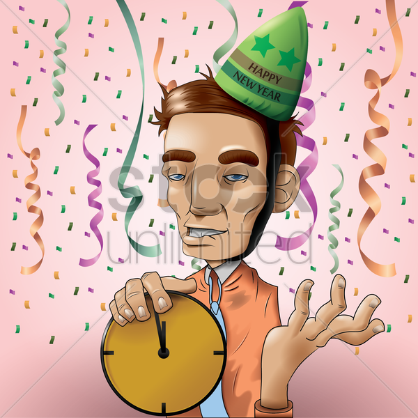 man with happy new year hat vector graphic