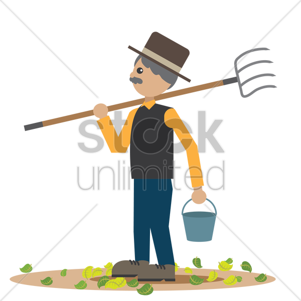 man with pitchfork and bucket vector graphic