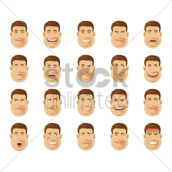 man with various expressions collection vector graphic