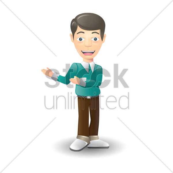 man with welcome hand gesture vector graphic