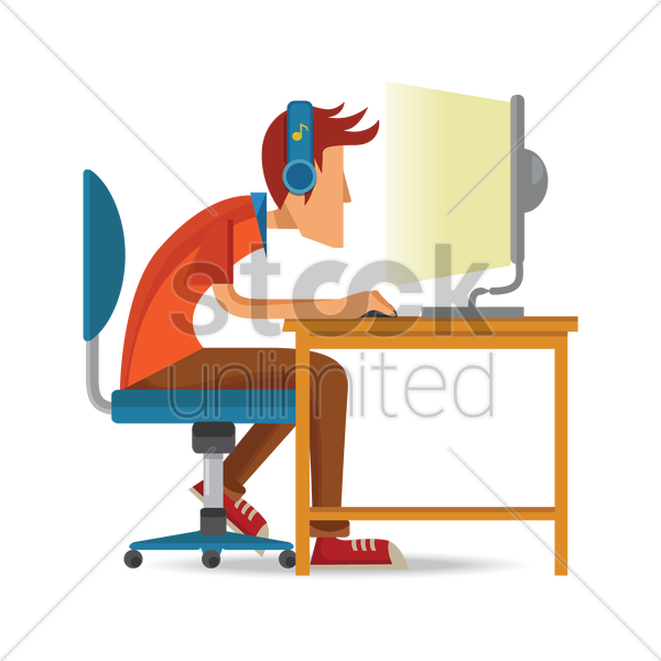 man working on computer vector graphic
