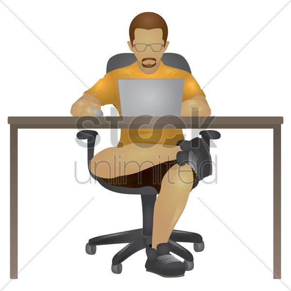 man working on laptop vector graphic