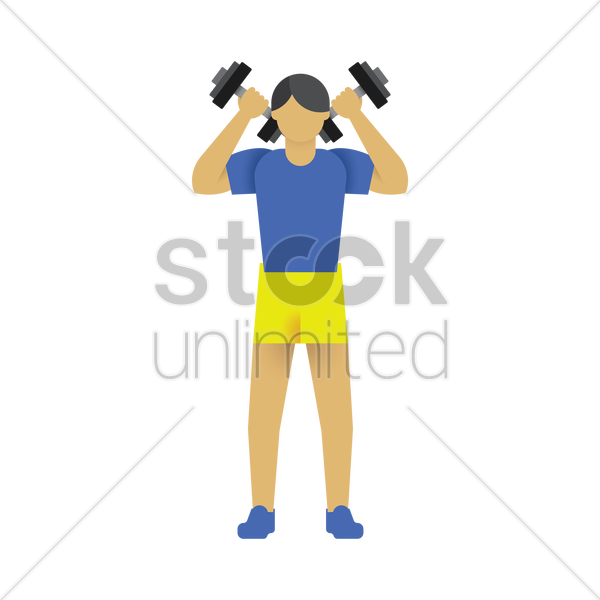 man working out with dumbbells vector graphic