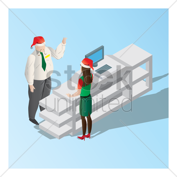 manager instructing the cashier at counter vector graphic