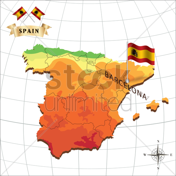 map of spain with barcelona vector graphic