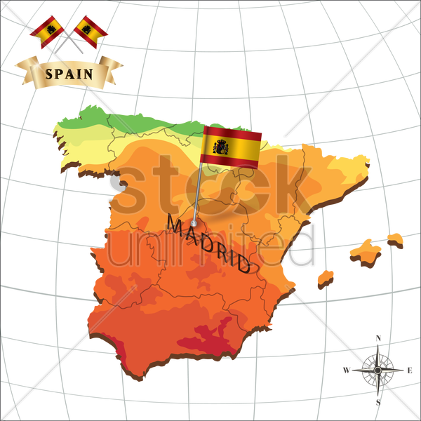 map of spain with madrid vector graphic