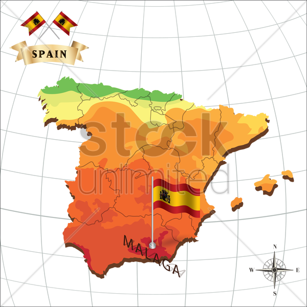 map of spain with malaga vector graphic