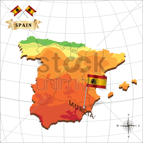 map of spain with murcia vector graphic