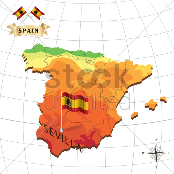 map of spain with sevilla vector graphic