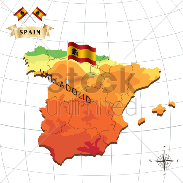 map of spain with valladolid vector graphic