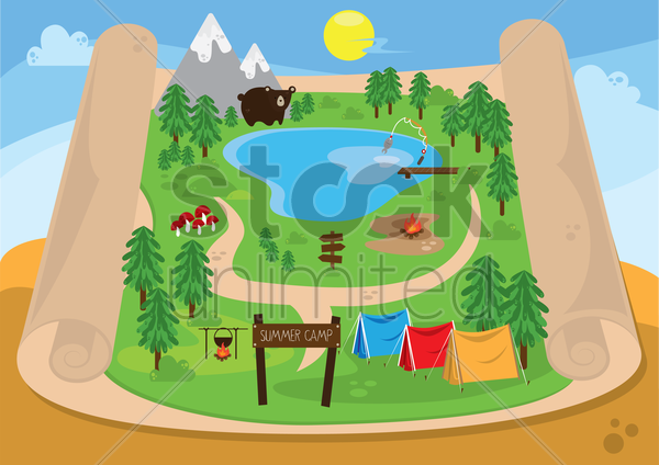 map of summer camp vector graphic