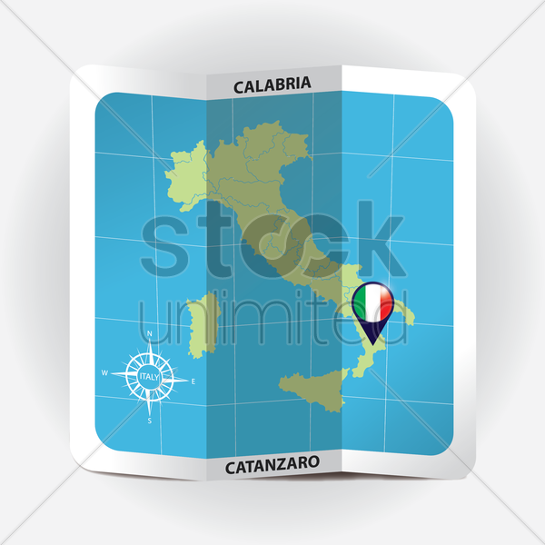map pointer indicating calabria on italy map vector graphic