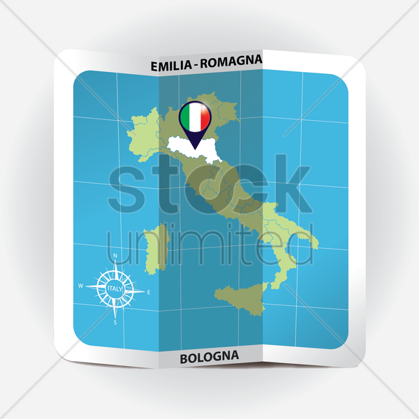 map pointer indicating emilia-romagna on italy map vector graphic