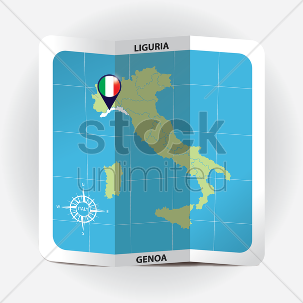 map pointer indicating liguria on italy map vector graphic