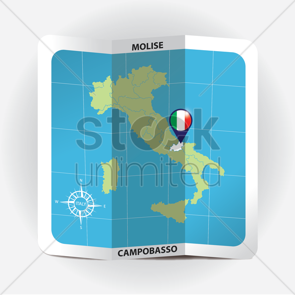 map pointer indicating molise on italy map vector graphic