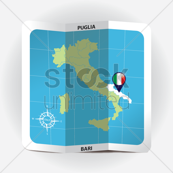 map pointer indicating puglia on italy map vector graphic