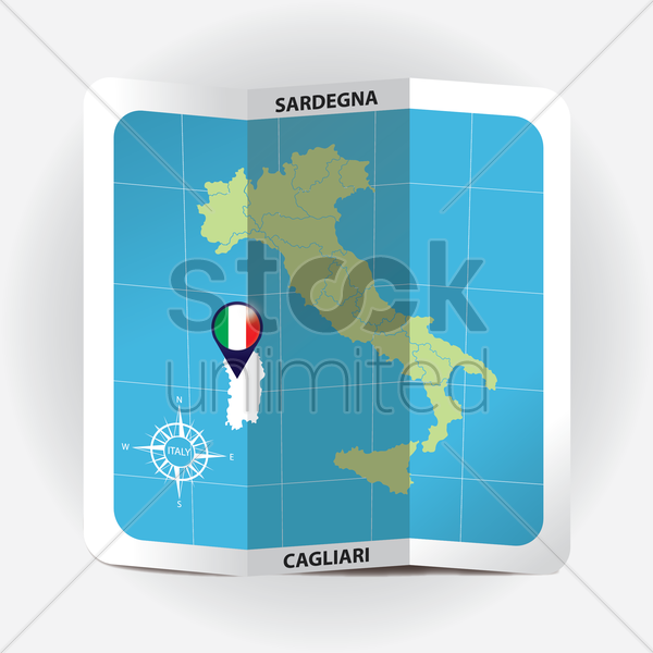 map pointer indicating sardegna on italy map vector graphic