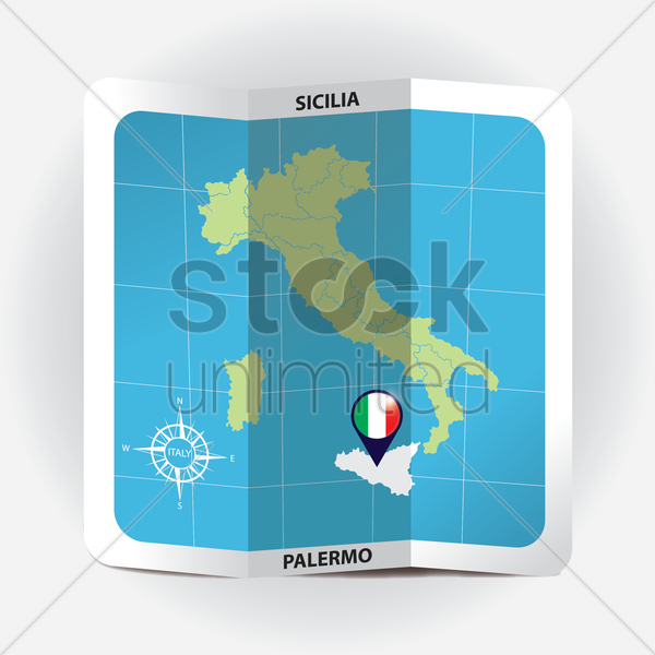 map pointer indicating sicilia on italy map vector graphic