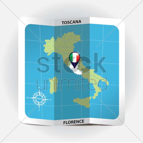 map pointer indicating toscana on italy map vector graphic