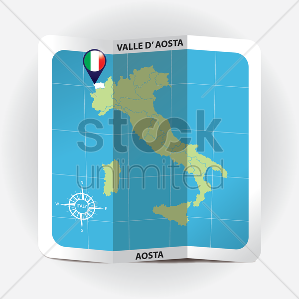 map pointer indicating valle d'aosta on italy map vector graphic