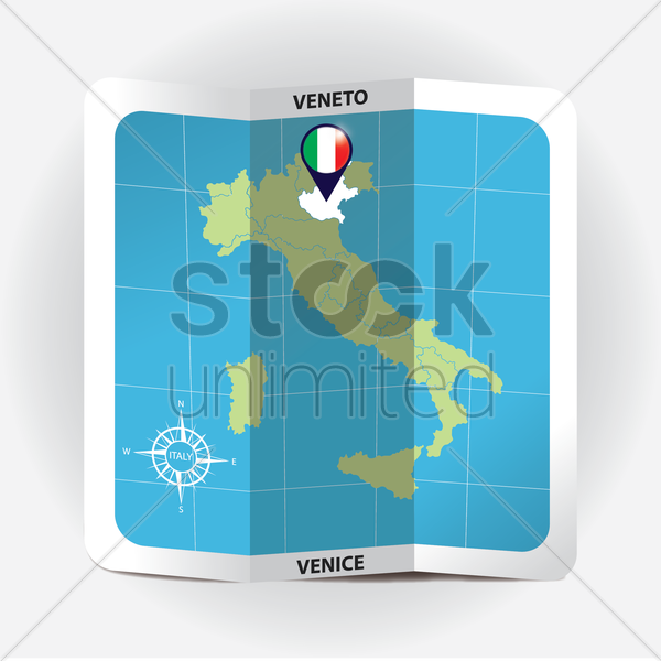 map pointer indicating veneto on italy map vector graphic