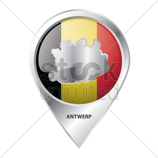 map pointer with antwerp map vector graphic