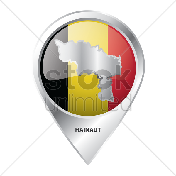 map pointer with hainaut map vector graphic