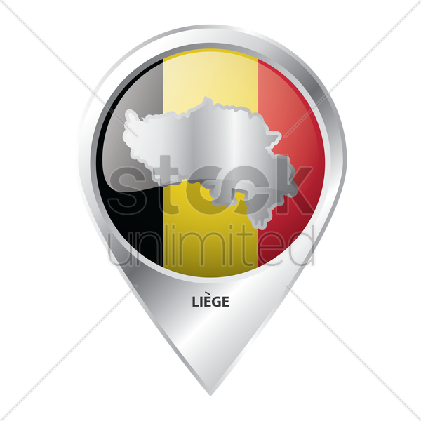 map pointer with liege map vector graphic