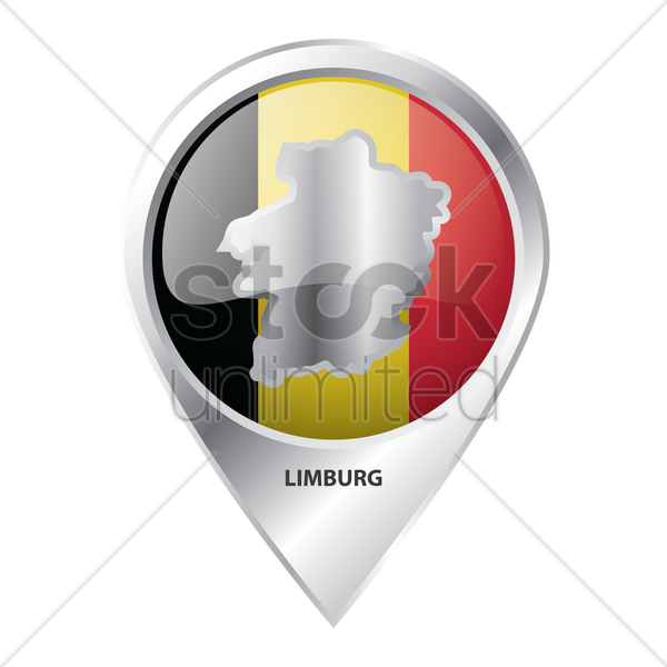 map pointer with limburg map vector graphic