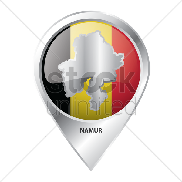 map pointer with namur map vector graphic