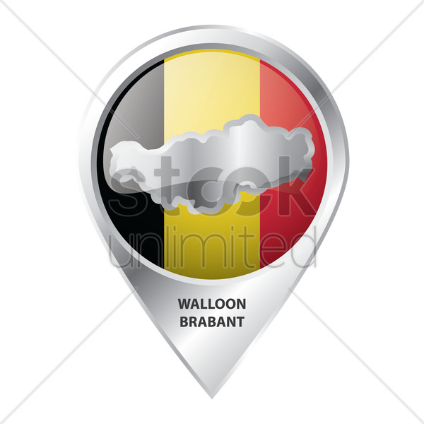 map pointer with walloon brabant map vector graphic
