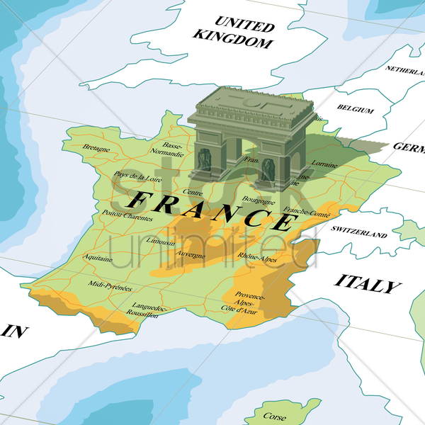 map with arc de triomphe vector graphic