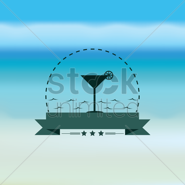 martini glass with banner vector graphic
