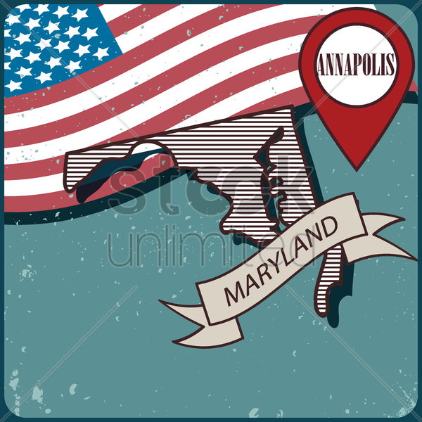 maryland map label vector graphic